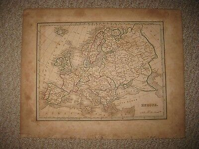 Antique 1835 Europe Map Russia Poland Turkey France Italy Prussia Germany Rare