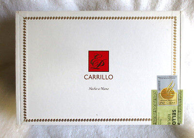E. P. Carrillo El Decano White Paper Covered Wood Cigar Box   - Beautiful !!!