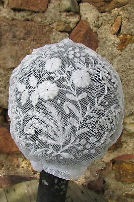 Exquisite Antique French Silk Embroidery/tulle Lace Baby Bonnet Antique Doll