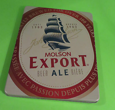 Molson Export Beer Ale Collectible Tin With 4 Coasters & Metal Opener