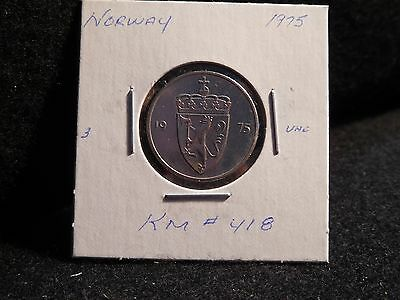 Norway:  1975  50 Ore  Coin     (Unc.)  (#3245)  Km# 418