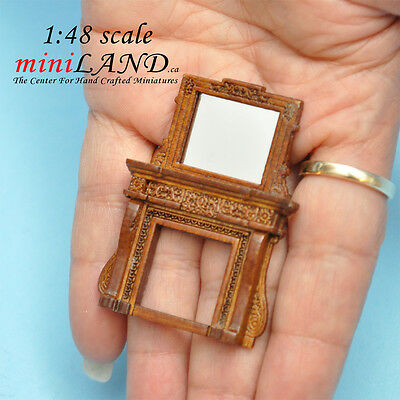 1:48 Scale Fireplace and mirror Walnut Top Quality 1/48 dollhouse miniature
