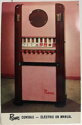 Rowe Console Cigarette Vending Machine Electric & Manual ~ Illustrated Adv. Card