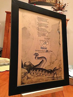 "Framed Original & Rare Yes ""relayer"" Lp Album Cd Promo Ad"