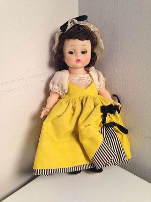 "MADAME ALEXANDER French Doll Yellow Dress Collectible Retro Toy 7"" Tall B1868A"