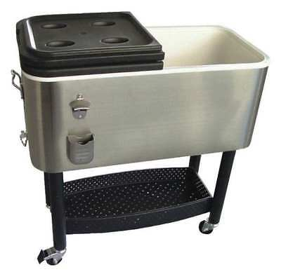 Crestware Cooler, 17 gal. Stainless Steel/Plastic, Gray/Black, COOLER1