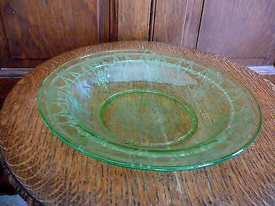 """Anchor Hocking - Cameo Ballerina Green  Depression Glass 9"""" Flat Rimmed Soup Ex"""