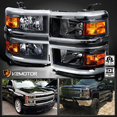 2014-2015 Chevy Silverado 1500 Pickup Black Clear Headlights+Corner Signal Lamps