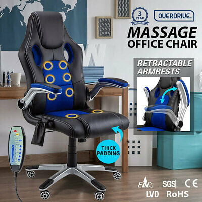 NEW 8 Point Massage Racing Office Computer Chair - Faux Leather Ergonomic Blue