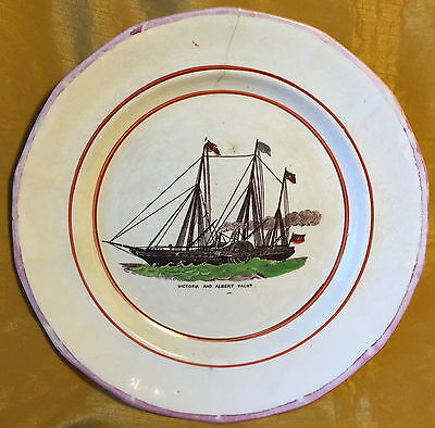 19th c Queen Victoria & Prince Albert Yacht SCOTT Antique Transfer/Painted Plate
