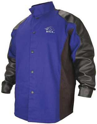 BSX BXRB9C/PS Welding Jacket, FR, Cotton/Leather, Blue, M