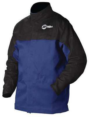 MILLER ELECTRIC 231 085 Combo Weld Jkt, Royal/Blk, Ctn/Leather, 3XL