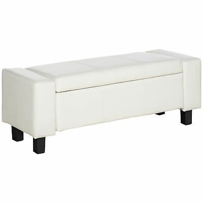 HOMCOM Bedroom Storage Bench PU Leather Seat Ottoman Hallway Footrest White NEW