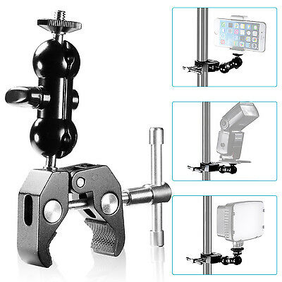 Neewer Cool Ballhead Arm Multi-functional Double Ball Adapter with Bottom Clamp