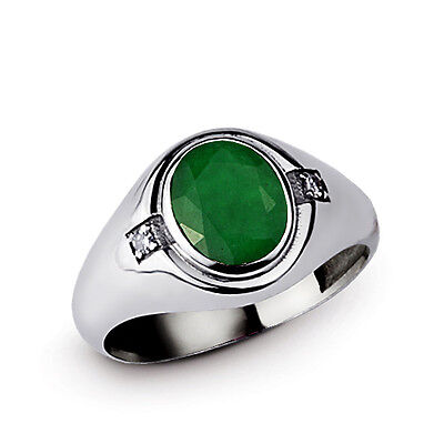 GENUINE DIAMOND and NATURAL GREEN EMERALD 925 Sterling Silver Men's Ring all sz