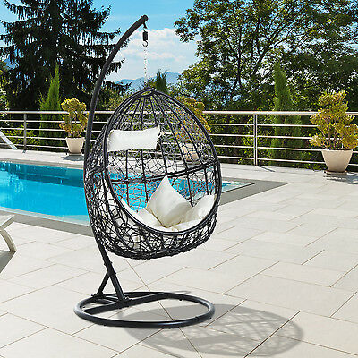 Outsunny Rattan Swing Chair Outdoor Patio Wicker Weave Egg Hanging Seat