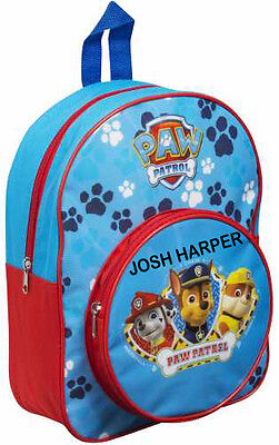 Personalised Paw Patrol Chase & Marshall Backpack With Front Pocket ADD NAME/S