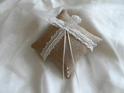 Hessian and Lace Rustic Satin Wedding Ring Cushion Hand Crafted