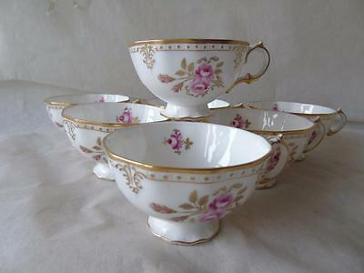 7 x Royal Crown Derby Royal Pinxton Roses A1155 Footed Tea Cups Only - Mint