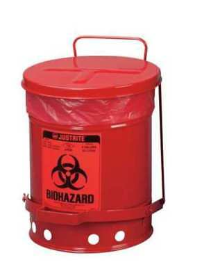 JUSTRITE 05910R Biohazard Waste Container,15 In. W
