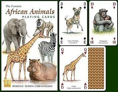 African Animals set of 52 playing cards + jokers (hpc)