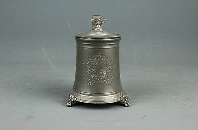 Antique Pewter Stein Tankard Cherub Footed Swedish Coat of Arms Santesson 1889