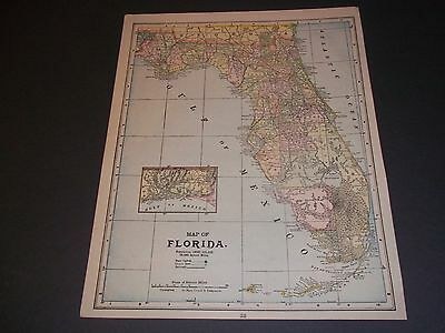 1891 FLORIDA Antique color state map original authentic