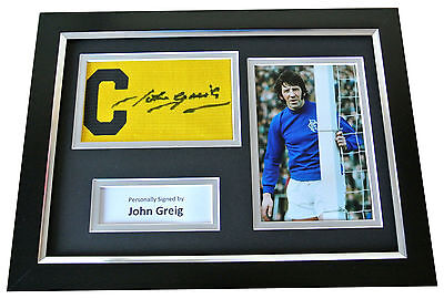 John Greig Signed FRAMED Captains Armband A4 Photo Display Rangers PROOF & COA