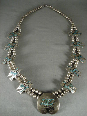 Museum Vintage Navajo Turquoise Silver Squash Blossom Necklace