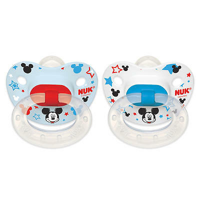 New NUK Disney Baby 0-6 Months 2 Pack Silicone Pacifier - Mickey Mouse