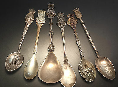 Vintage Souvenir Collector Silver Plated Spoons with different marks