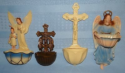 4 Vtg Celluloid Plastic Religious Catholic Holy Water Fonts Lot Angel Crucifix