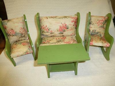 4 Pc LOT Vintage Wooden DOLL FURNITURE Sofa Couch Rocking Chair Table GREEN