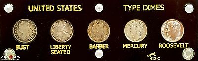 US Dime Type Set, High Grade Capped, Seated, Barber, Mercury & Roosevelt Dimes!