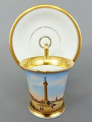 Biedermeier Veduten Tasse, Waterlooplatz in Hannover, um 1820/30