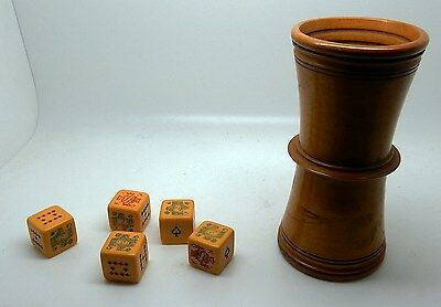 Antique / Vintage French or English Ribbed Wood Dice Cup & Bakelite Dice #A2of6