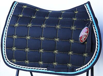 Horse Quilted ENGLISH SADDLE PAD Tack Trail Riding Contoured Navy Blue 72F12