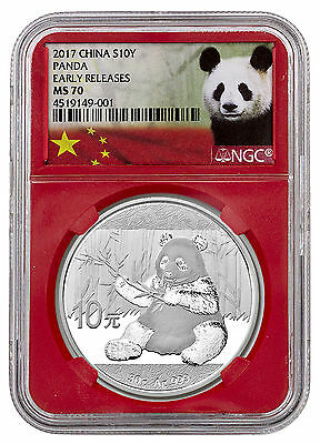 2017 China 10 Yuan 30g Silver Panda NGC MS70 ER (Panda Label Red Core) SKU45048