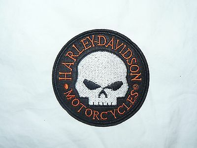 White Skull Harley Davidson Iron on/ Sew on Patch Biker Motorcycle