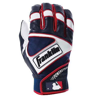 Franklin Powerstrap Adult Baseball/Softball Batting Gloves - White/Navy/Red - XL