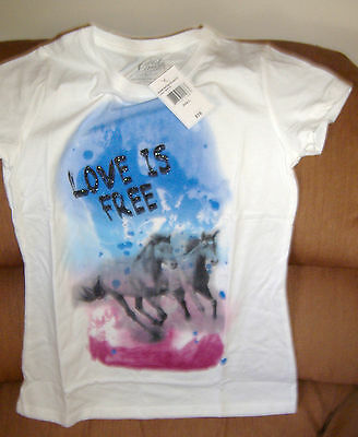 LOVE IS FREE HORSE TEE SHIRT Girls Large NEW 2 Horses T Cold Crush