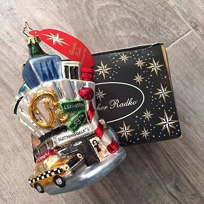 NWT Radko Bloomingdale's 59th & Lex New York Glass Hand Painted Ornament in Box
