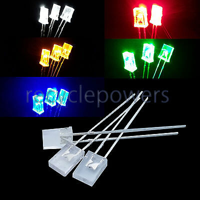 2x5x7mm 2pin Water Clear Diffused Square Rectangular LED Light Emitting Diode