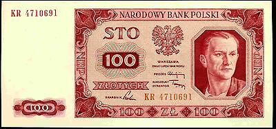 Poland. 100 Zloty, KR 4710691, 1948, Almost Uncirculated-Uncirculated.