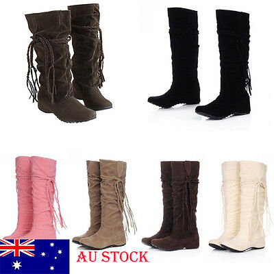 AU Fast Ship! Women Moccasin Knee High Tassel Hidden Wedge Winter Lace up Boots
