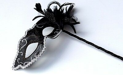 Venetian Masquerade Mask on STICK Carnival Party Ball GOLD BLACK BRONZE SILVER