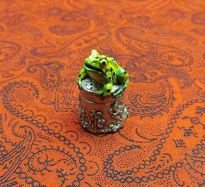 Rare Vintage Stephen Frost Hand Painted English Pewter 2 Pc. Green Frog Thimble
