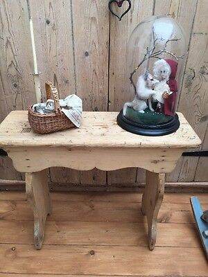 Vintage Stripped Pine Rustic Stool Or Side Table