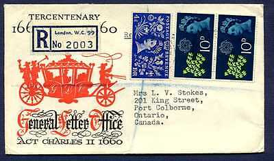 GB-1964 Registered Cover to Pt Colborne,ON from London UK-#314 & 2-#384 stamps