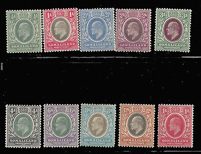 Somaliland stamps 1905 EDVII 1/2a - 12a , chalky 1/2 a (SG 45-53, 59) MLH ₤170